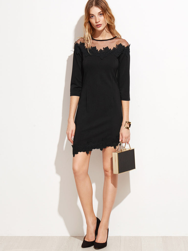 Black Sheer Mesh Applique Dress - The Style Syndrome  - 4