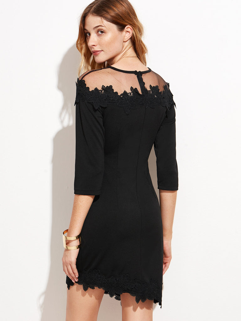 Black Sheer Mesh Applique Dress - The Style Syndrome  - 3