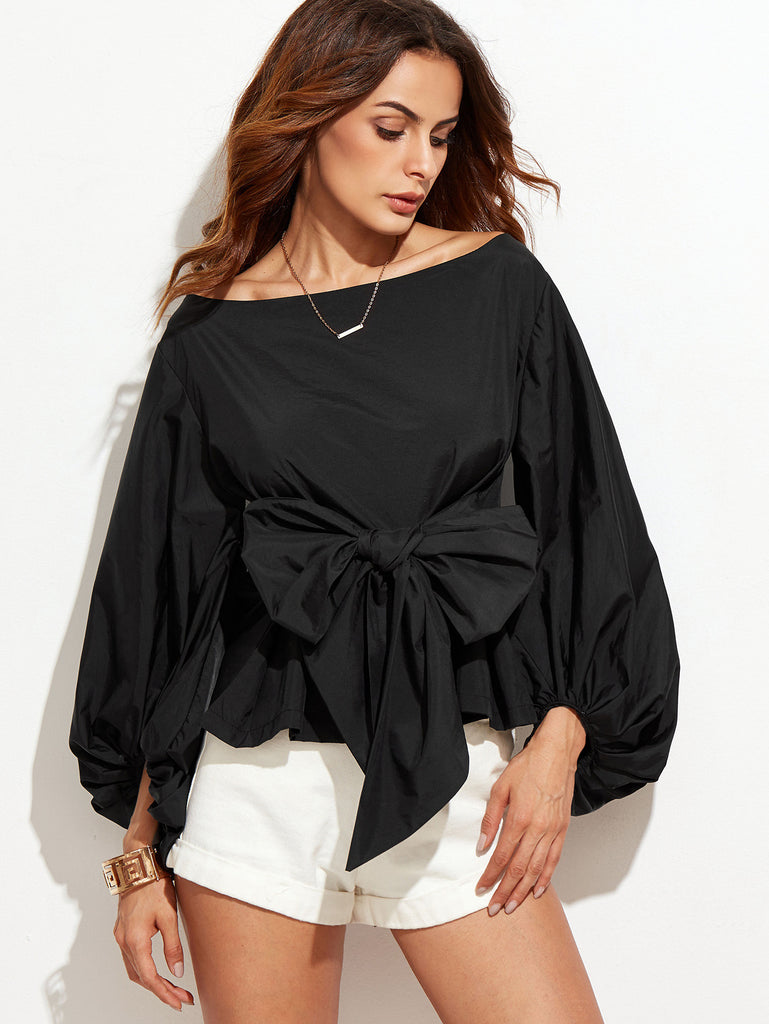 Black Boat Neck Lantern Sleeve Bowknot Blouse - The Style Syndrome