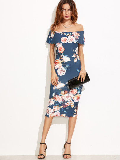 Blue Floral Off The Shoulder Scalloped Hem Sheath Dress - The Style Syndrome  - 1