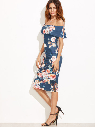 Blue Floral Off The Shoulder Scalloped Hem Sheath Dress - The Style Syndrome  - 3