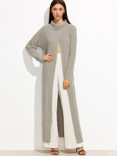 RZX Grey Funnel Neck Open Front High Slit Long Sweater