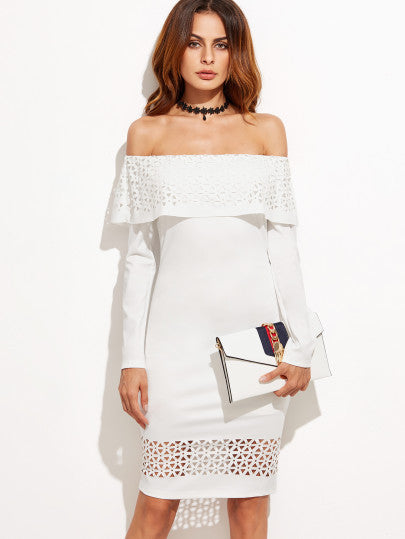 White Laser Cutout Off The Shoulder Ruffle Dress - The Style Syndrome  - 1