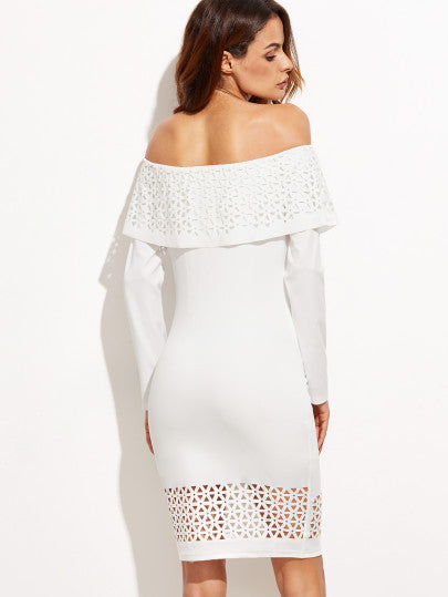 White Laser Cutout Off The Shoulder Ruffle Dress - The Style Syndrome  - 3