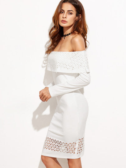 White Laser Cutout Off The Shoulder Ruffle Dress - The Style Syndrome  - 2