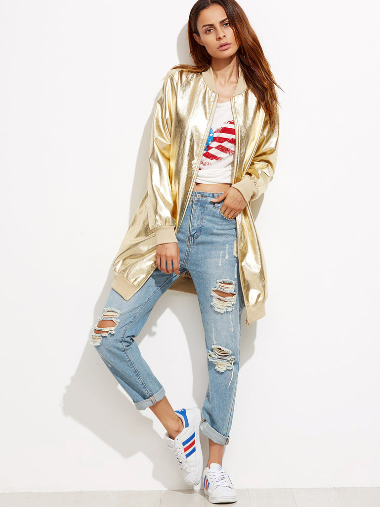 RZX Gold Ribbed Trim Zip Up Longline Bomber Jacket