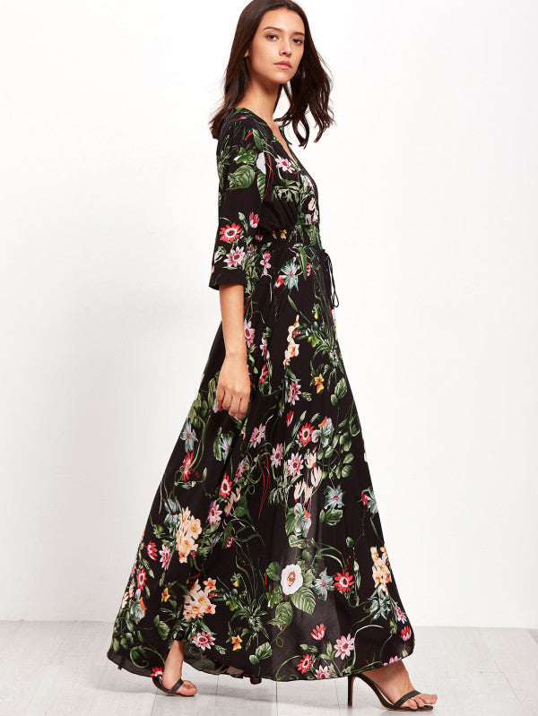Calico Print Drawstring Button Front Maxi Dress