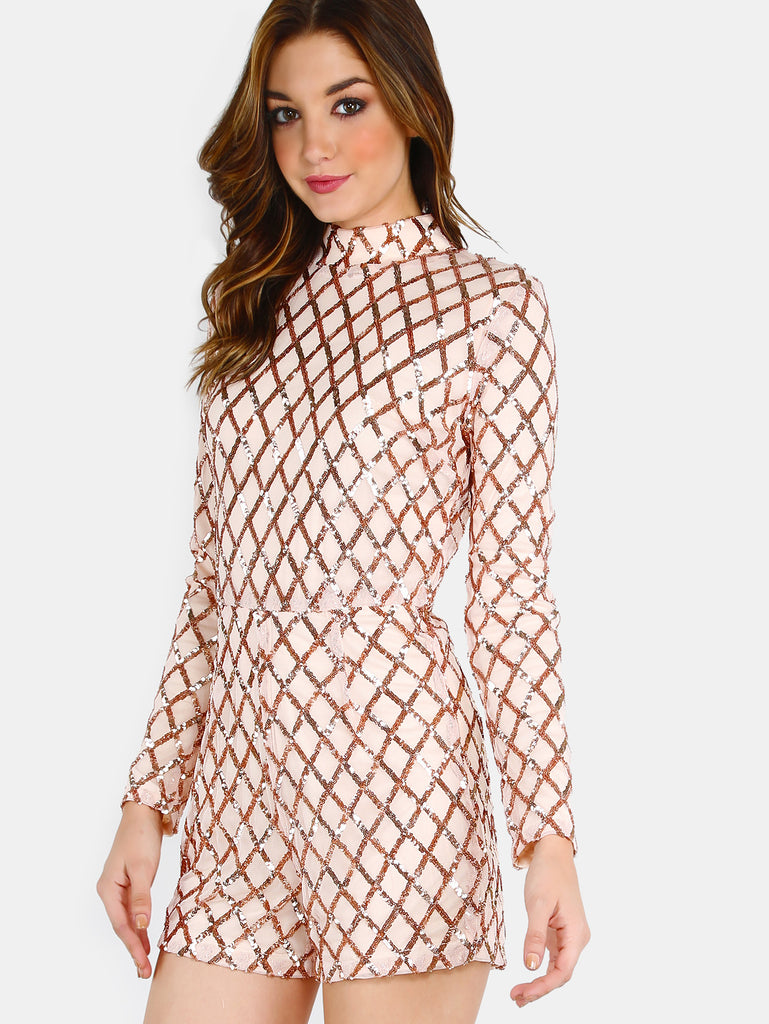RZX Mock Neck Sleeved Sequin Romper BLUSH