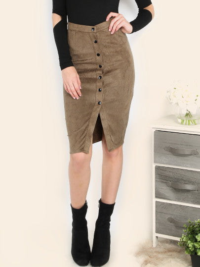 Brown Faux Suede Button Front Pencil Skirt - The Style Syndrome  - 1