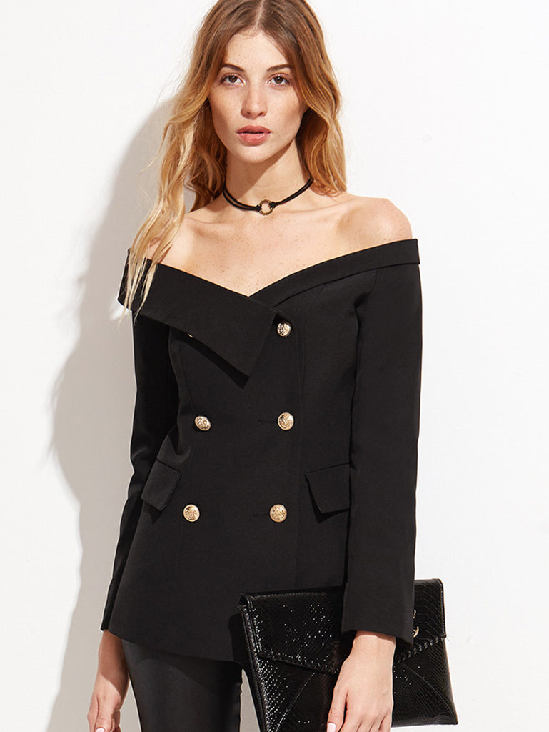RZX Black Off The Shoulder Fold Over Double Buttons Blazer