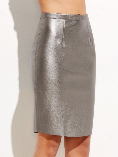 Silver Zipper Back Metal Skirt - The Style Syndrome  - 1