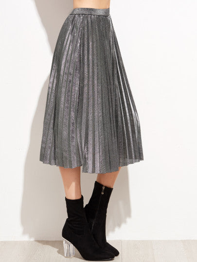 Grey High Waist Pleated Skirt - The Style Syndrome  - 1