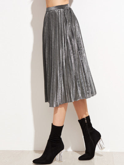 Grey High Waist Pleated Skirt - The Style Syndrome  - 2
