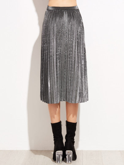 Grey High Waist Pleated Skirt - The Style Syndrome  - 3