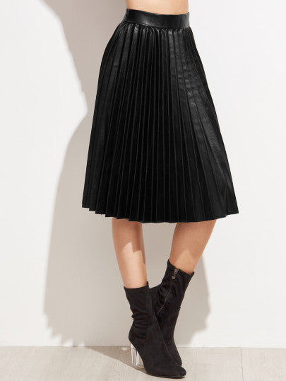 Black PU Pleated Knee Length Skirt - The Style Syndrome  - 1