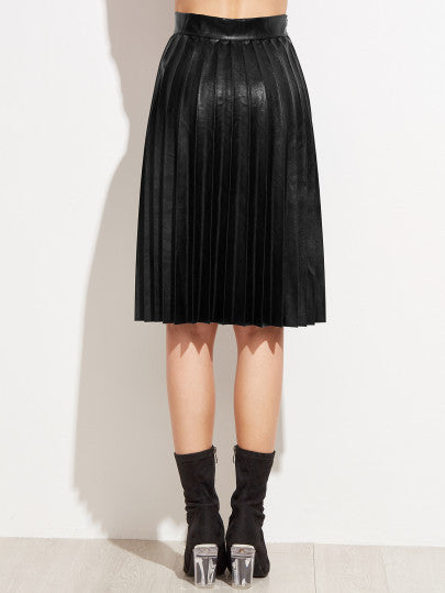 Black PU Pleated Knee Length Skirt - The Style Syndrome  - 3