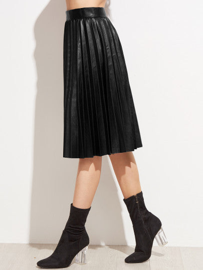 Black PU Pleated Knee Length Skirt - The Style Syndrome  - 2