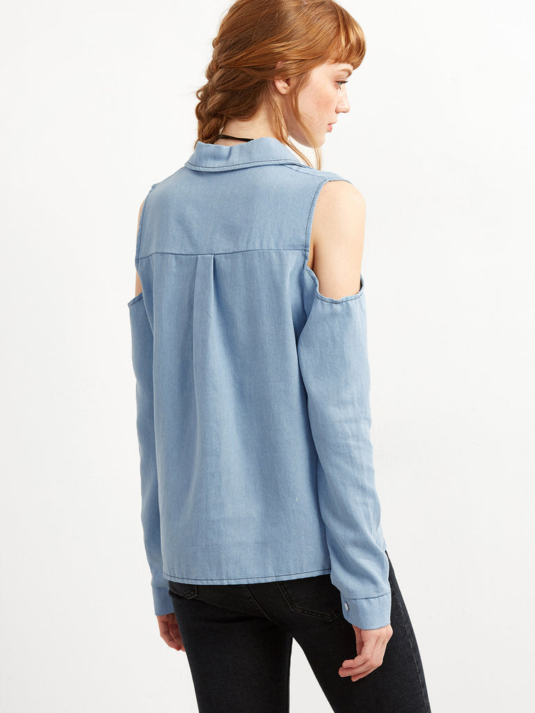 Blue Open The Shoulder Denim Blouse - The Style Syndrome  - 4