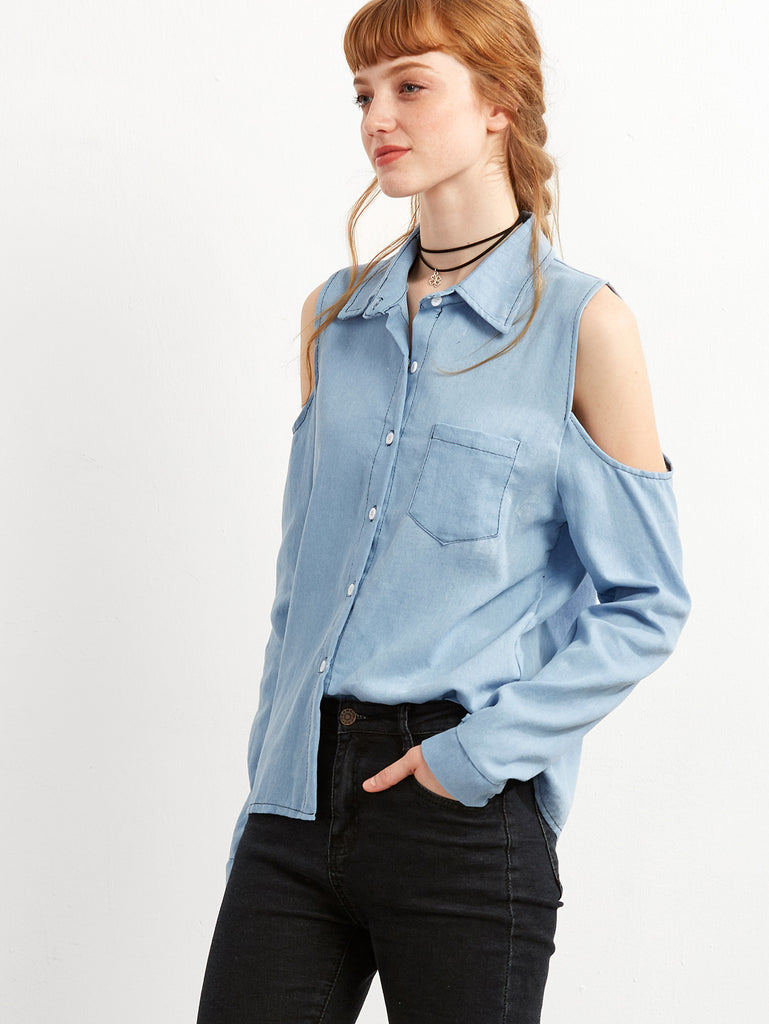 Blue Open The Shoulder Denim Blouse - The Style Syndrome  - 2