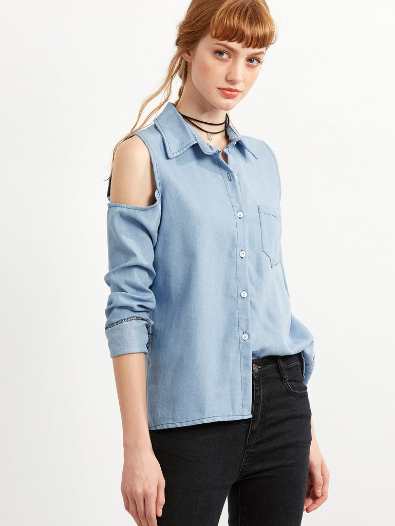 Blue Open The Shoulder Denim Blouse - The Style Syndrome  - 3