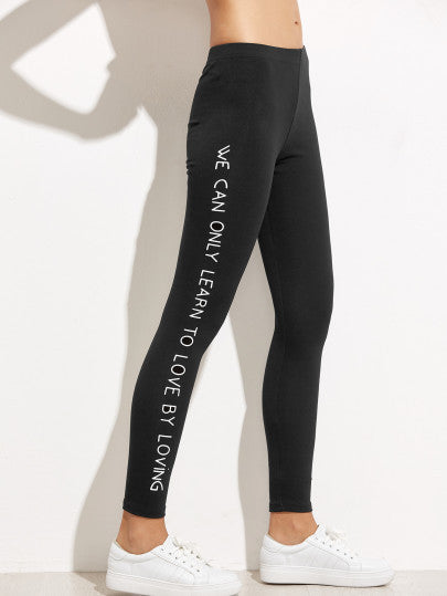 Black Slogan Print Leggings - The Style Syndrome  - 2