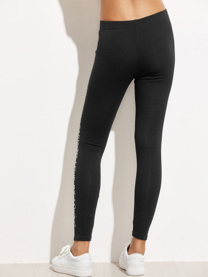 Black Slogan Print Leggings - The Style Syndrome  - 3