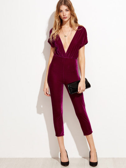 Deep V Neck Zipper Back Velvet Jumpsuit - The Style Syndrome  - 1