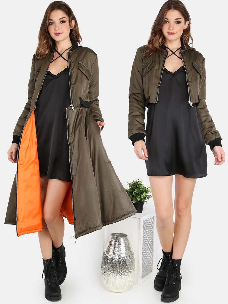 Cropped Bomber Attachable Longline Jacket OLIVE RZX