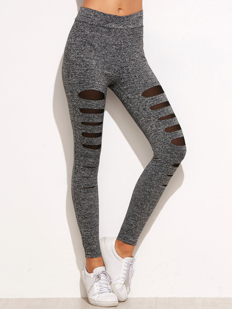RZX Grey Marled Knit Mesh Insert Ripped Leggings