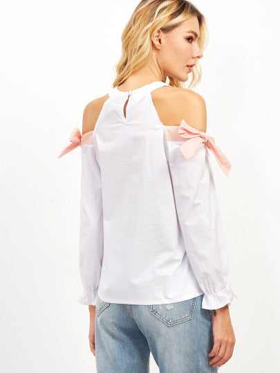 White Open Shoulder Shirred Cuff Tie Detail Blouse - The Style Syndrome  - 4