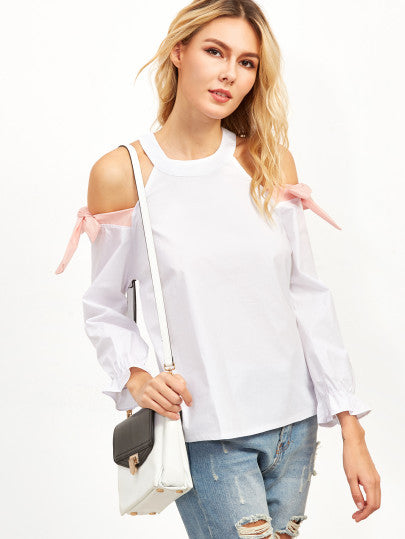 White Open Shoulder Shirred Cuff Tie Detail Blouse - The Style Syndrome  - 2