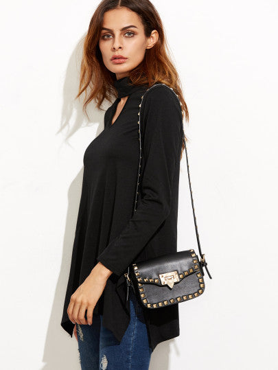 Black Cut Out Asymmetrical Swing T-shirt - The Style Syndrome