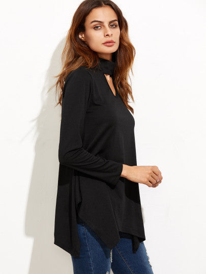 Black Cut Out Asymmetrical Swing T-shirt - The Style Syndrome  - 3