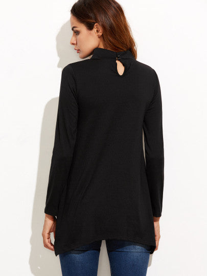 Black Cut Out Asymmetrical Swing T-shirt - The Style Syndrome  - 4