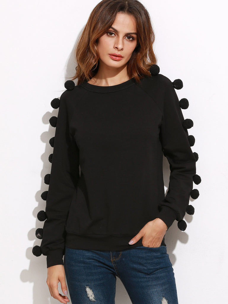 RZX Black Raglan Sleeve Sweatshirt With Pom Pom