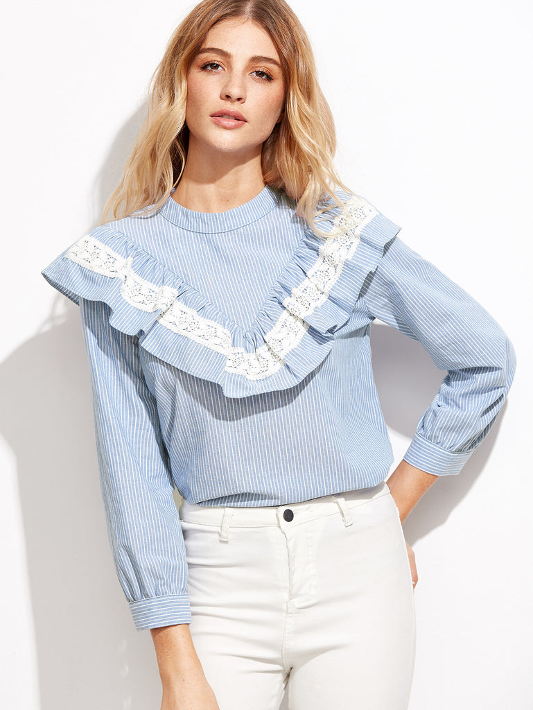 Blue Vertical Striped Lace Trim Ruffle Blouse