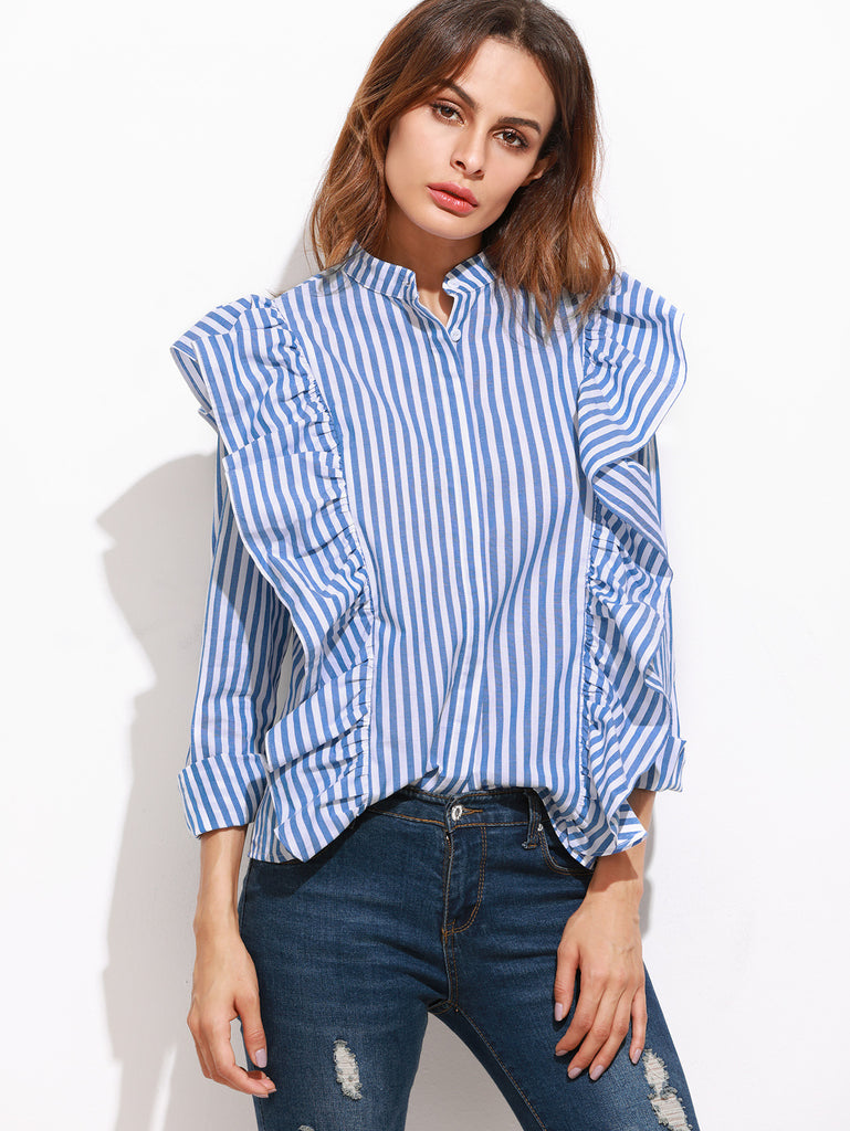 Blue Vertical Striped Hidden Button Ruffle Blouse RZX