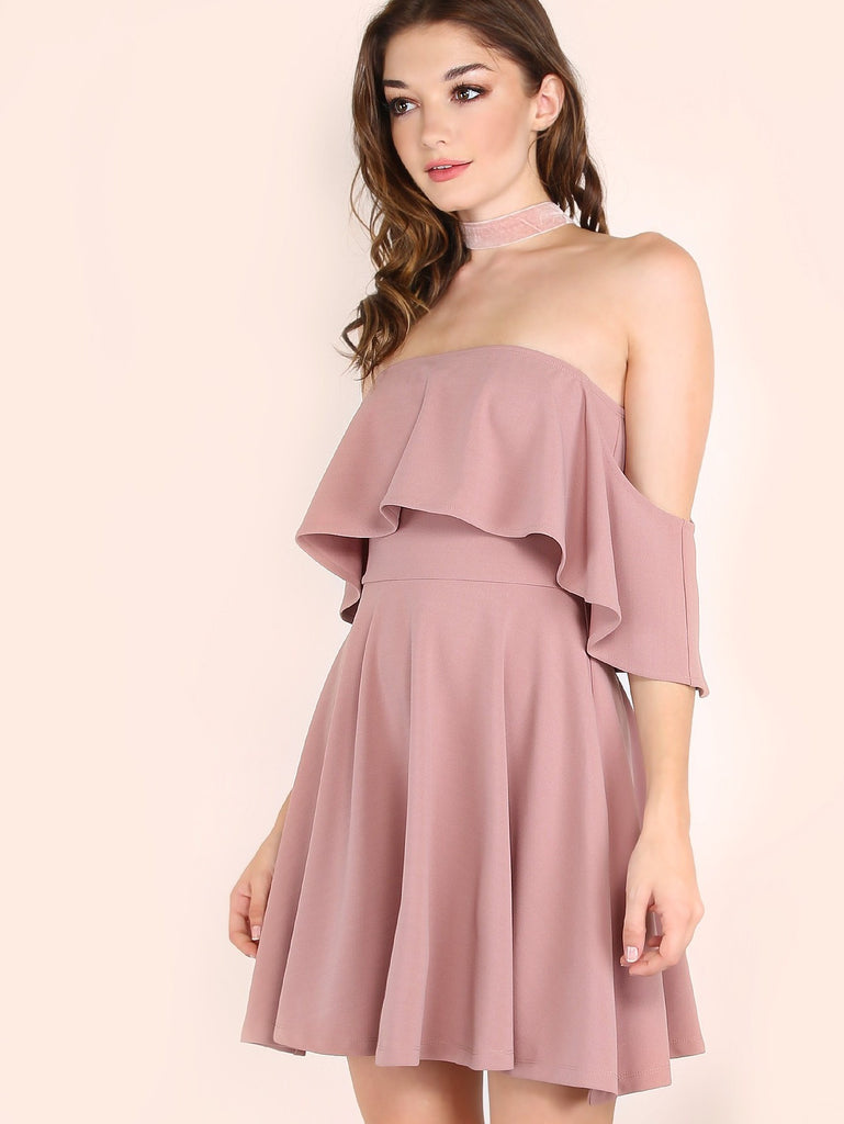 Pink Off The Shoulder Skater Dress - The Style Syndrome  - 2