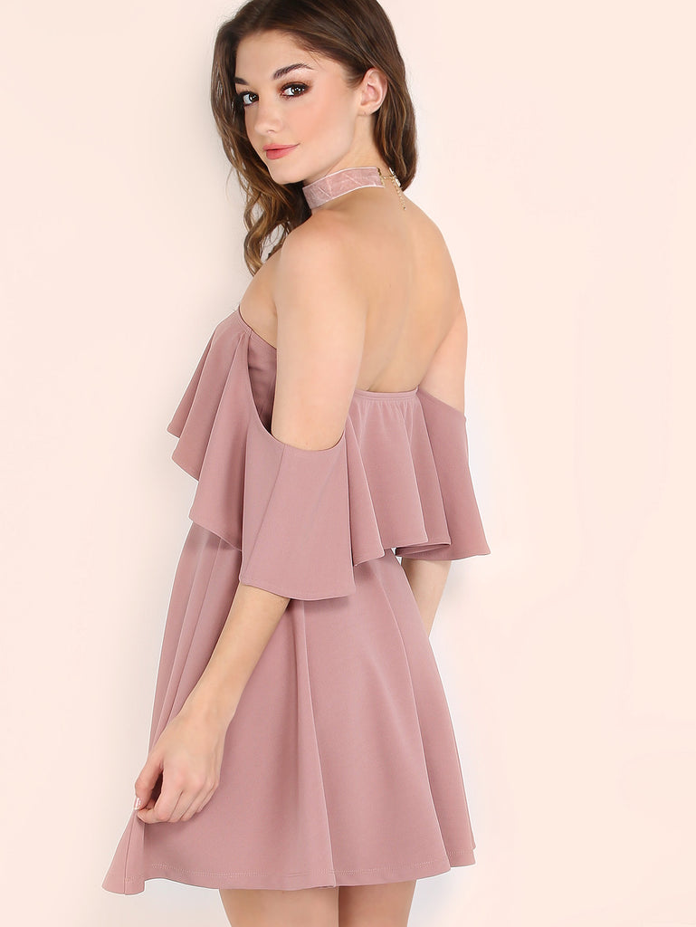 Pink Off The Shoulder Skater Dress - The Style Syndrome  - 3