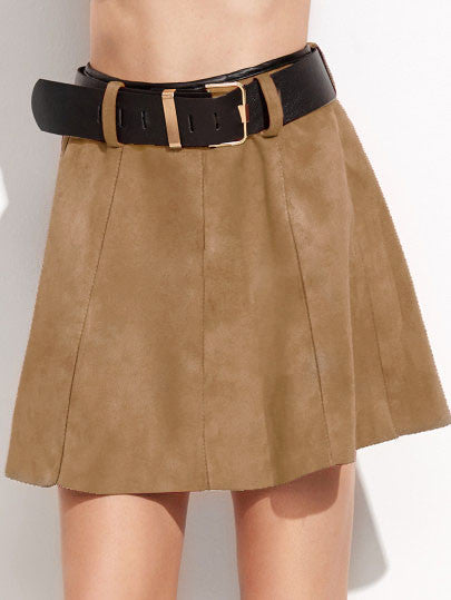 Khaki Suede A-Line Skirt With Belt RZX
