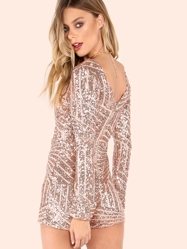 Sequined Crossover Sleeved Romper ROSE GOLD