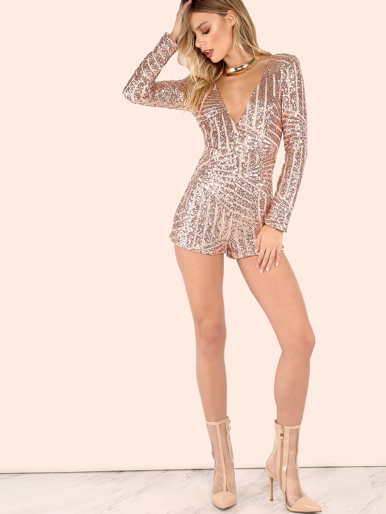 RZX Sequined Crossover Sleeved Romper ROSE GOLD