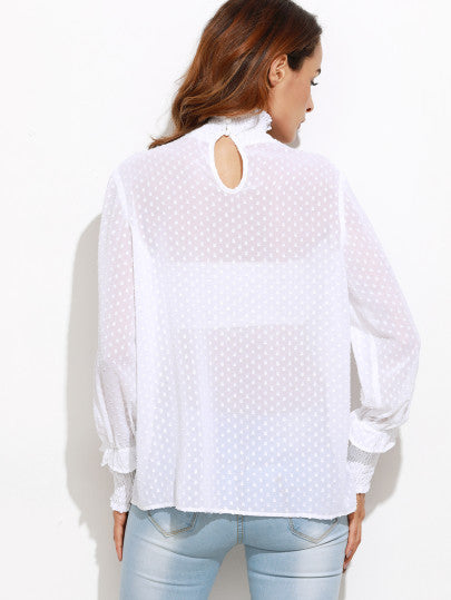 White Sheer Dotted Blouse With Smocked Detail