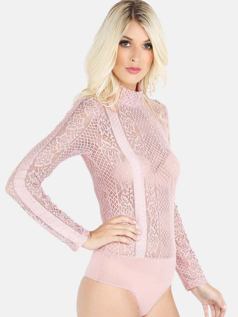 RZX Sheer Lace Bodysuit PINK