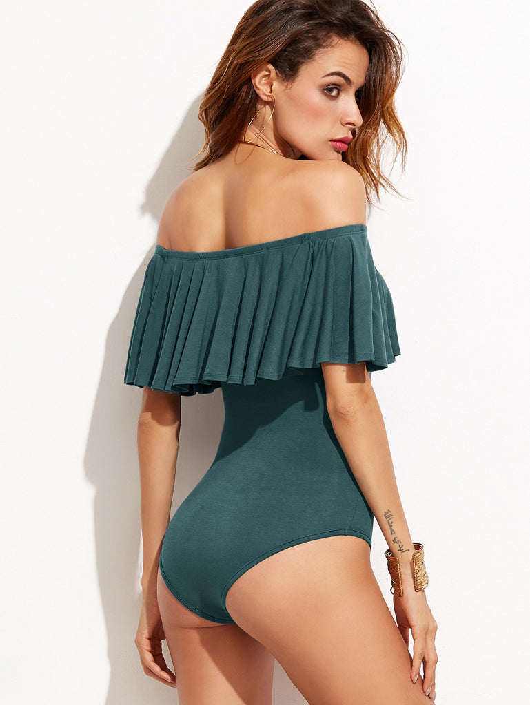 Dark Green Ruffle Off The Shoulder Bodysuit