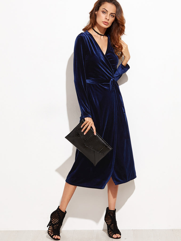 RZX  Navy Surplice Front Velvet Wrap Dress