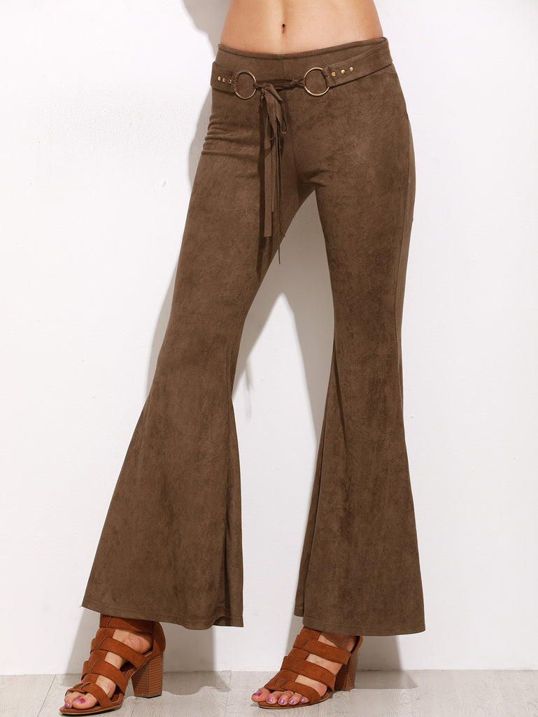 Brown Faux Suede Belted Flare Pants RZX
