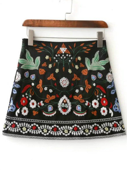 Black Flower Embroidery Mini Skirt RZX