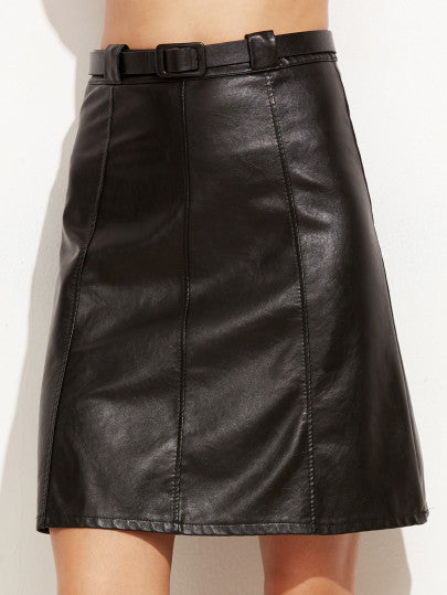 Black Faux Leather A-Line Skirt With Belt - The Style Syndrome