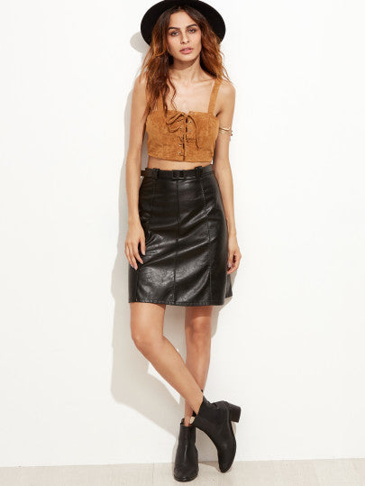 Black Faux Leather A-Line Skirt With Belt